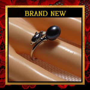 Dolphin & Black Pearl Ring #432